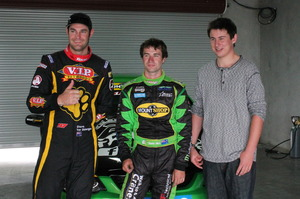 V8 SuperTourer driver Shane van Gisbergen (left) with drifting driver Shane Allen and competition winner Rory Foster (right). Photo / Mathieu Day.