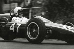 Bruce McLaren (N.Z.) driving his Cooper.