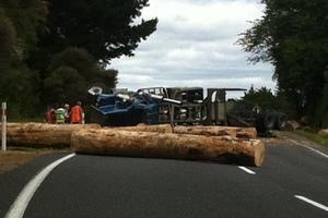 Logging truck crash near Whakatane.