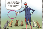Editorial cartoon on the Trans-Pacific Partnership. Image / Rod Emmerson