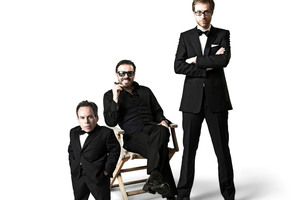 Warwick Davis, Ricky Gervais and Stephen Merchant in Life's Too Short.