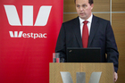 Westpac CEO Peter Clare addresses media with the company's half year results. 3 May 2012 New Zealand Herald Photograph by Greg Bowker