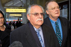 David Ross,left, and a supporter, outside court in Wellington. Photo / Mark Mitchell