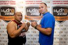 David Tua (left) faces a second shot at a world title if he beats Russian boxing giant Alexander Ustinov. Photo / File
