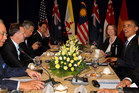 New Zealand Prime Minister John Key with other leaders, including United States President Barack Obama at a Trans Pacific Partnership leaders meeting last year.