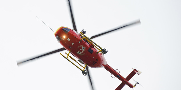 A Westpac rescue helicopter was unable to land near the injured man.