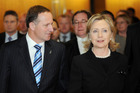 New Zealand Prime Minister John Key, left and US Secretary of State Hillary Clinton. Photo / File