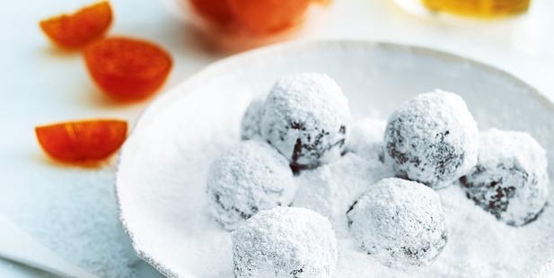Amaretti, cranberry and clementine truffles. Photo / Donna Hay Magazine