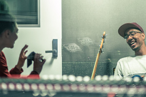 Wellington singer Estere and rapper Oddisee at work in Auckland's Red Bull Studio. Photo / Scott Sinton