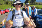 Shaun Thompson-Gray with his twins, Louie and Mia, before he started his 160km run/walk slog around Mt Taranaki last weekend