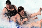 Toni and Shanell Marwood from Hastings made the most of opening day at Splash Planet in Hastings yesterday. Photo / Paul Taylor