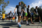 Chris Wood, Tommy Smith, Jeremy Brockie and Michael McGlinchey arrive for their training session. Photo / Getty Images
