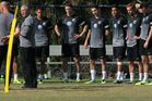 Ricki Herbert addresses his players during a training session in Los Angeles. Photo / Getty Images