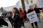 Sex workers demonstrate outside France's Parliament over plans to make paying a prostitute illegal. Photo / AP