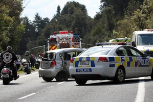 TRAGEDY: The crash scene where a Rotorua motorcyclist was killed instantly. PHOTO/PETER GRANEY GRAN091113003