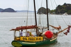 Ratbag leaves Opua to join a protest flotilla heading to an oil drilling site off the west coast. Photo / Richard Simkins