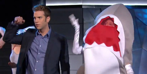 "Anthony Jeselnik during the ""shark party"" stunt."