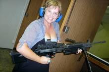 Megan Singleton at The Gun Store in Las Vegas.