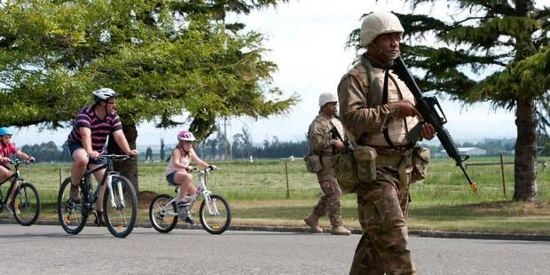 Tongan solidiers on patrol near Timaru as part of the huge Southern Katipo exercise. Photo / NZ Defence Force