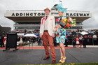 Peter Grooby and Claire Foley - the winners of the best dressed competition - during New Zealand Trotting Cup Day at Addington Raceway. Photo / Getty Images