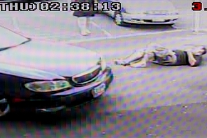 An image from the video of the attack on the man in Hamilton.