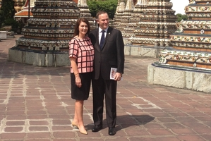 John Key and wife, Bronagh, at the Wat Pho temple in Thailand earlier this week. Photo / Claire Trevett