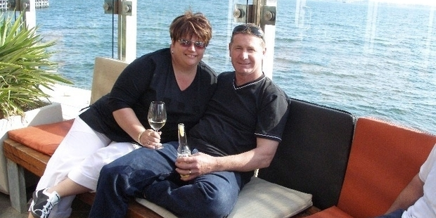 Donna Hayes-Stevenson (left, with husband Wayne) weighed 116kg in 2006.