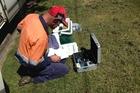 Ruapehu council water testing in Raetihi last week.