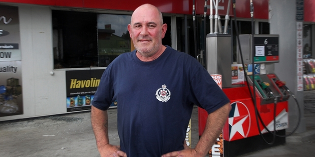 Off-duty volunteer Katikati volunteer firefighter Graham Macdonald had no time to worry about teeth or shoes when he rushed to a fire at the neighbouring petrol station. Photo/Andrew Warner.