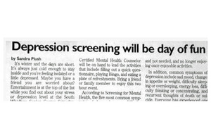 "Way to rub it in: ""Depression screening will be day of fun"". (Source: BadNewspaper.com)"