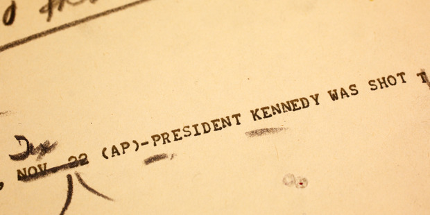 Photo of an Associated Press teletype news bulletin from Friday, Nov. 22, 1963. Photo / AP