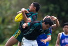 Southern Cross School players Mavae Manuika (left) and Chas Ngaha jump for the bail. Photo / Dean Purcell