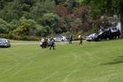 The scene where a woman drove her car off the bank into the Waikato River. Photo / Christine Cornege.