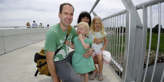 Scott and Tracey Dumbleton with their children, Evie, 2, left, and  Gia, 5.Photo / George Novak