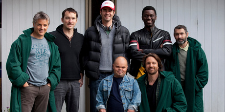 From left, Shane Cortese, Cohen Holloway, Millen Baird, Jimmy Fletcher, Brian Manthenga,  Martin Henderson and  Mark Scott cameo in <i>Auckland Daze</i>.