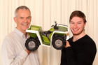 Associate Professor Jonathan Leaver with the inventor of the Tahr Quad suspension concept, Nick Marks.Photos / Chris Gorman