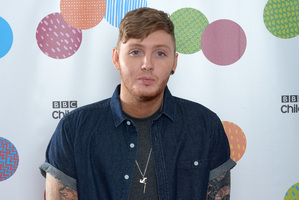 Singer James Arthur poses backstage at the BBC Children in Need Appeal Nigh Show. Photo / AP