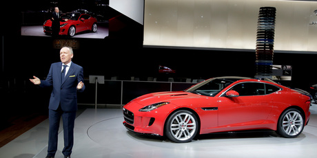 Jaguar's Director of Design, Ian Callum. introduces the company's F-Type Coupe at the Los Angeles Auto Show. Photo / AP