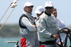 Larry Ellison and Russell Coutts on BMW Oracle Racing in the Louis Vuitton Pacific Series yachting regatta on Auckland's Waitemata Harbour.