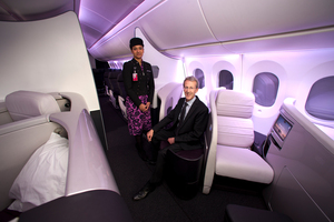 Air New Zealand programme director Kerry Reeves with inflight service manager Priyanka Girish inside the mock-up cabin of the Boeing 787 Dreamliner earlier this month. Photo/ Dean Purcell