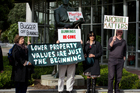 Arch Hill residents protest outside the Auckland Council's Civic Building. Photo / Brett Phibbs