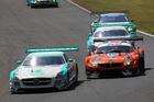 Jono Lester (front) racing in Japan in his Mercedes-Benz SLS AMG.