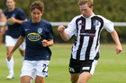 Auckland City's David Browne, left, was the difference in his side's win over WaiBOP United at Kiwitea St today. Photo / Glenn Taylor