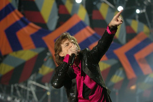 Rolling Stone Mick Jagger, performing in Wellington during the 2006 tour. Photo / APN