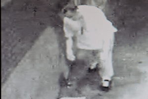 SECURITY CAMERA: Lucky Smith seen taking papers from a Wycliffe St shop.