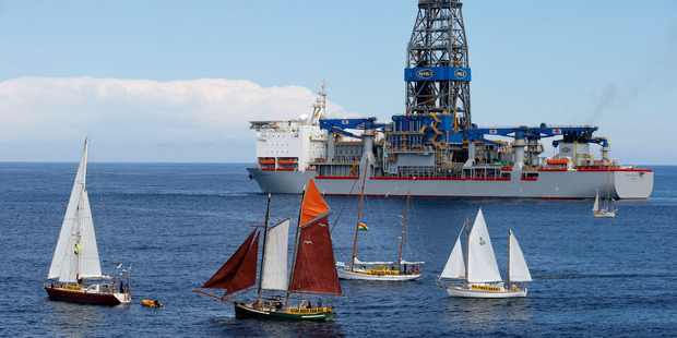 The Oil-Free Seas Flotilla just outside the exclusion zone around the drill ship Noble Bob Douglas yesterday. The Northland schooner Ratbag is the boat with the brown sails. PHOTO / Nigel Marple, Greenpeace