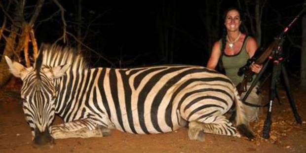 US TV presenter Melissa Bachman poses with a dead zebra in South Africa.