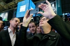 Twitter co-founders Jack Dorsey, Evan Williams and Biz Stone on the day of the firm's IPO. Picture / AP