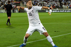 Chris James of New Zealand celebrates after scoring a goal during leg 2 of the FIFA World Cup Qualifier match between the New Zealand All Whites and Mexico. Photo / Getty Images.