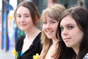 Allana Hollister, Neisha Matheson and Kelsey Oldham taking part in Daffodil Day. Photo / Greg Robertson